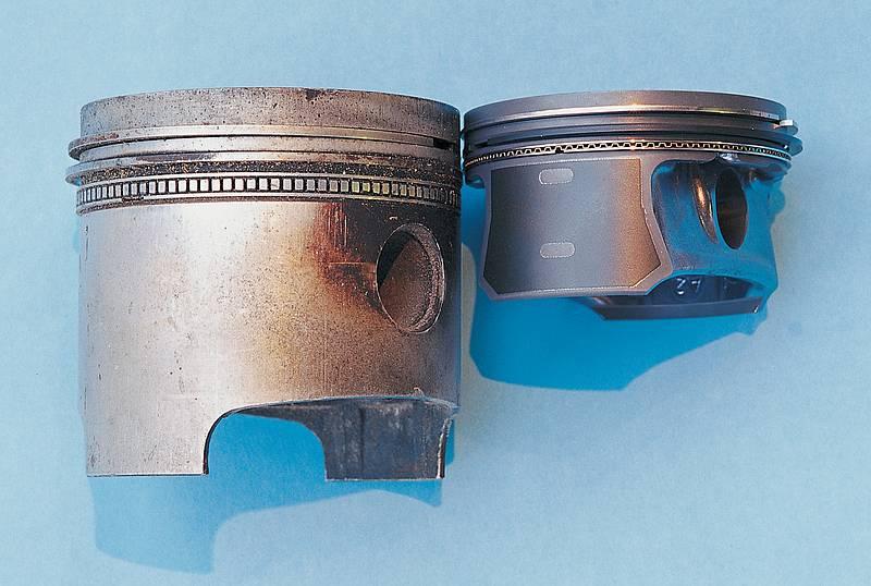 Zeitvergleich: Der linke Kolben stammt aus den fünfziger Jahren, der rechte ist aus aktueller Fertigung.