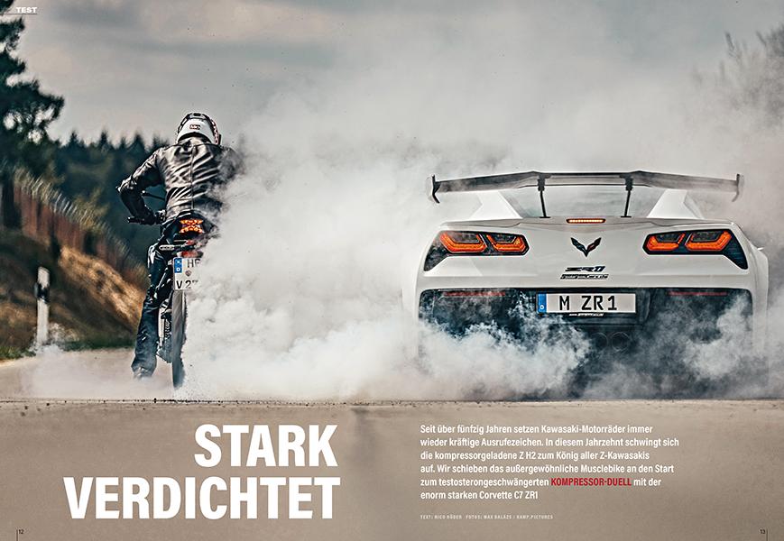 Drehmoment pur: Kawasaki Z H2 gegen Corvette C7 ZR1