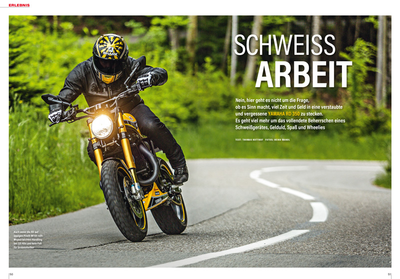 Fahrerlebnis mit der begeisternden Neuinterpretation einer Zweitakt-Yamaha RD 350 in Kenny Roberts-Lackierung