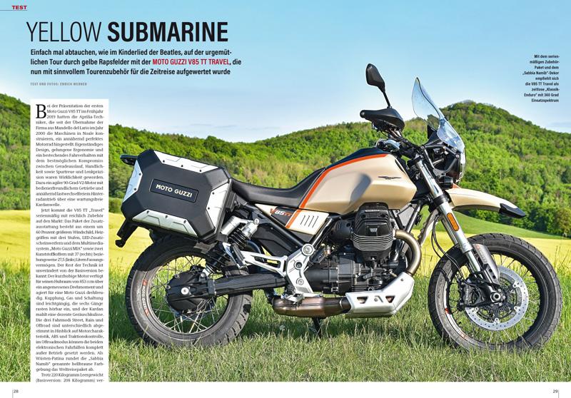Die Retro-Enduro Moto Guzzi V85 TT jetzt als Travel in Touren-Ausstattung