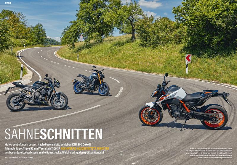 Drei besonders hochwertig ausgestattete Roadster im Vergleich: Triumph Street Triple RS, Yamaha MT-09 SP und KTM 890 Duke R