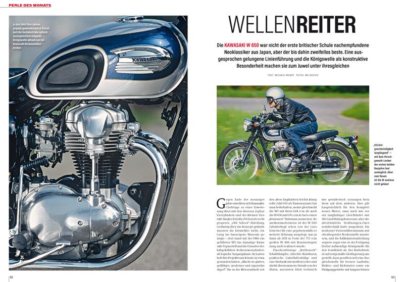 Die Kawasaki W 650 mit dem Königswellen-Zweizylinder ist die Perle des Monats. Mit Gebrauchtberatung