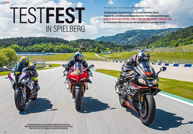 Europäische Superbikes beim Rennstrecken-Test: BMW S 1000 RR, Ducati Panigale V4S und Aprilia RSV4 1100 Factory