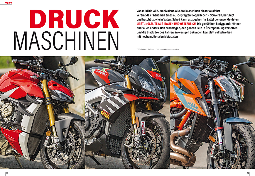 Ducati Streetfighter V4 S, KTM 1290 Super Duke R, Aprilia Tuono V4 1100 Factory: zwei Vierzylinder im Clinch mit dem V-Twin