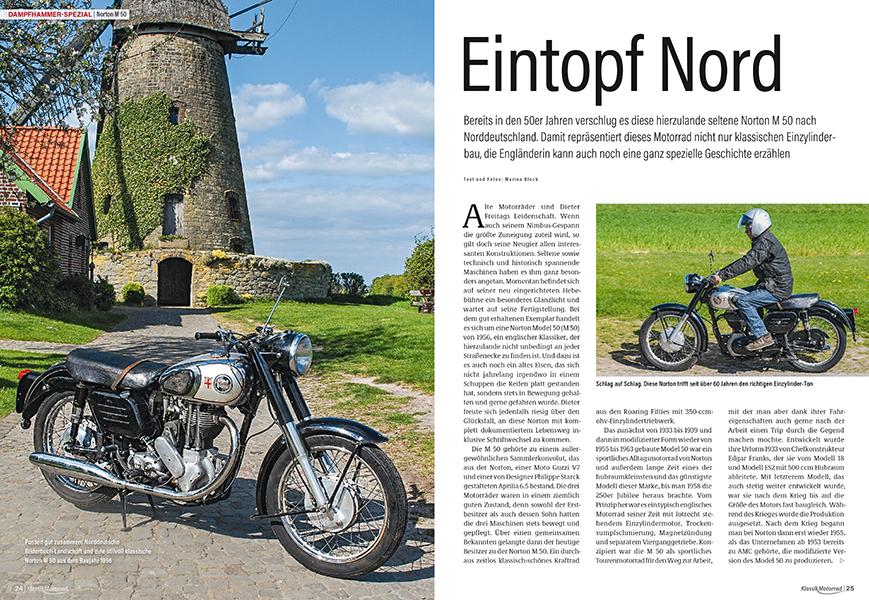 Dampfhammer Spezial: Die hierzulande seltene Norton M 50 verkörpert klassischen englischen Motorradbau