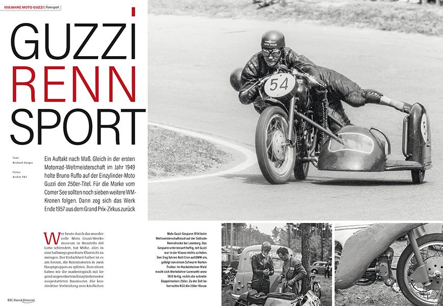 Die schnellen Guzzis der 1950er Jahre. Seltene Bilder aus Hockenheim
