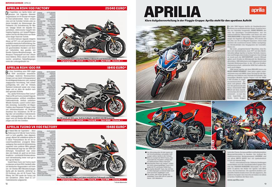 Alle aktuellen Modelle von Aprilia samt Firmenportrait...