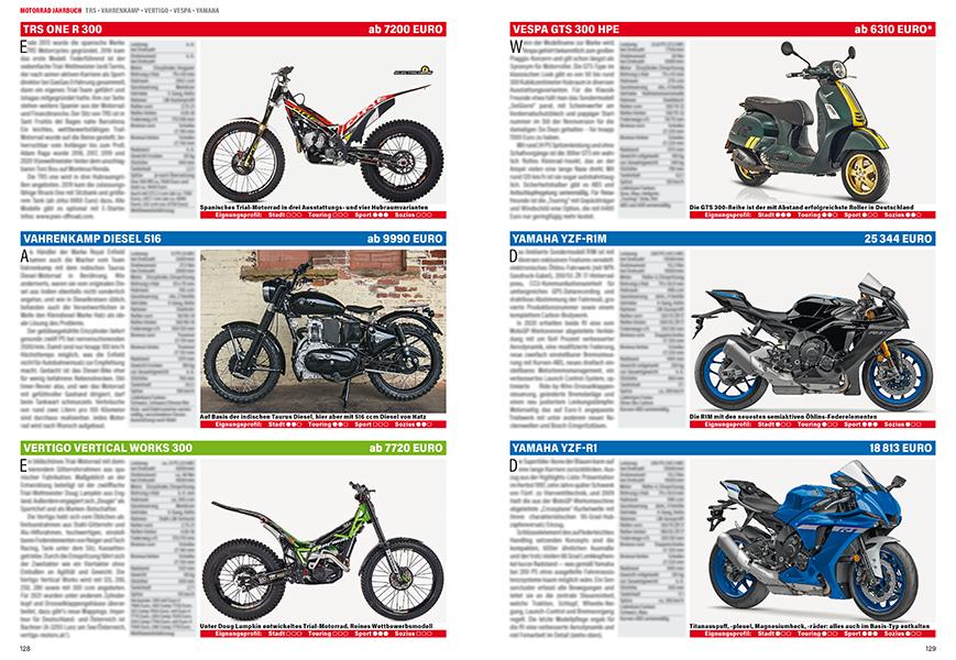 Reinrassige Trailmaschinen von TRS und Vertigo, Vespa-Roller und die zahlreichen Yamaha-Modelle.