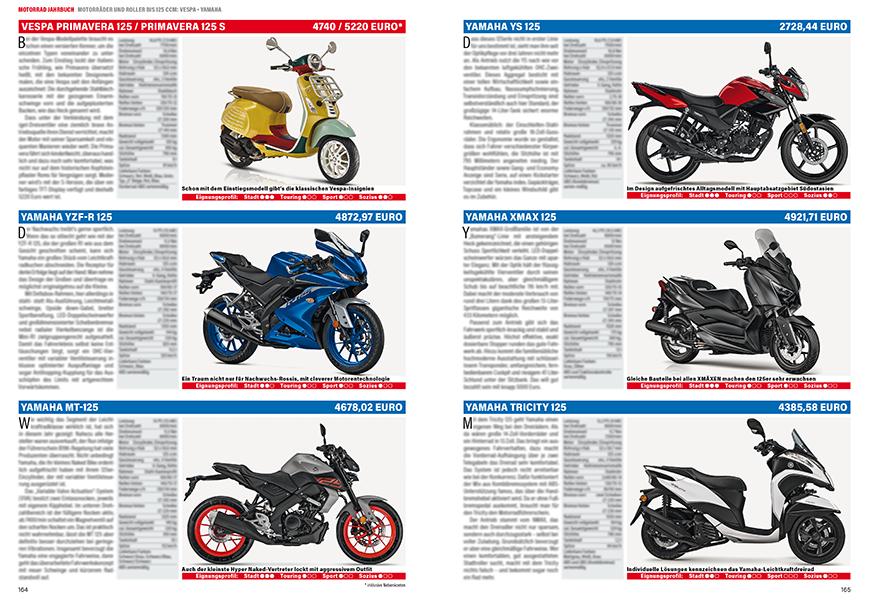 Zu den 125er zählen auch die Vespa Primavera und die sieben Yamaha-Modelle.