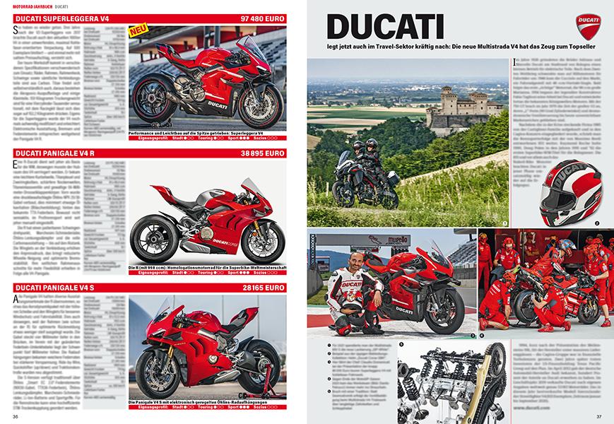 ... die Ducati-Modelle und das Firmenportrait.