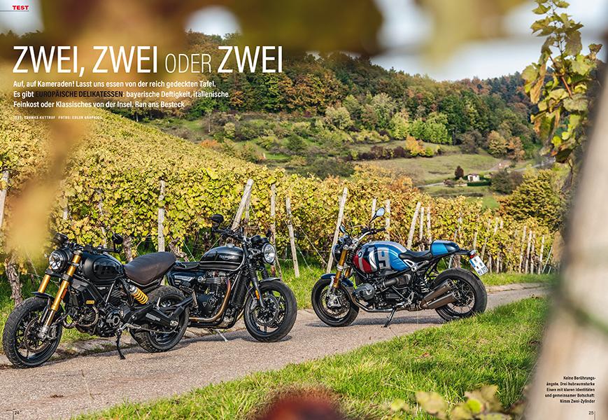 Zweizylinder-Roadster im Vergleich: Ducati Scrambler 1100, Triumph Speed Twin und BMW R nineT