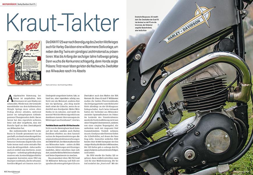 Der günstige Zweitakter Scat 175 ergänzte die Big Twins von Harley-Davidson bis Anfang der sechziger Jahre