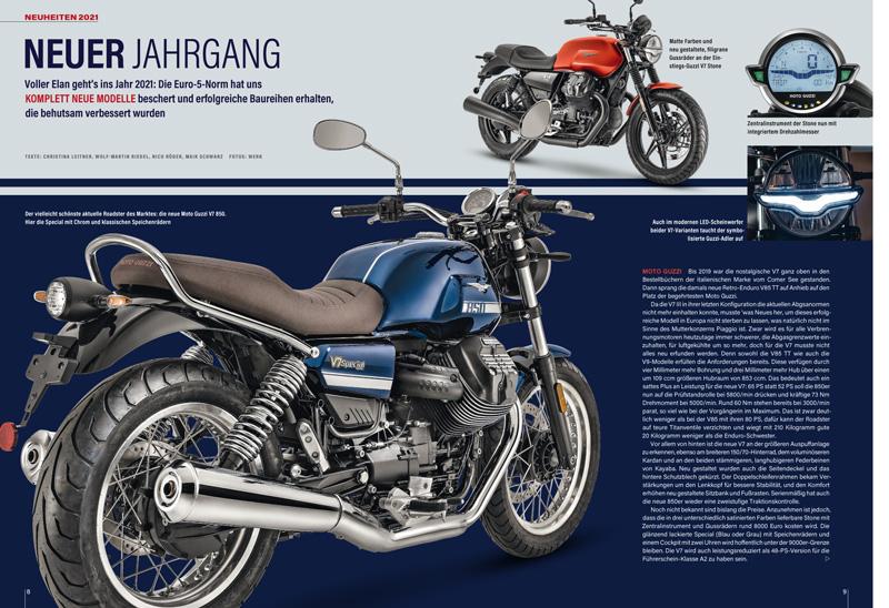 Der kommende Modelljahrgang verspricht noch einmal interessante Neuheiten – wie die 850er Moto Guzzi V7