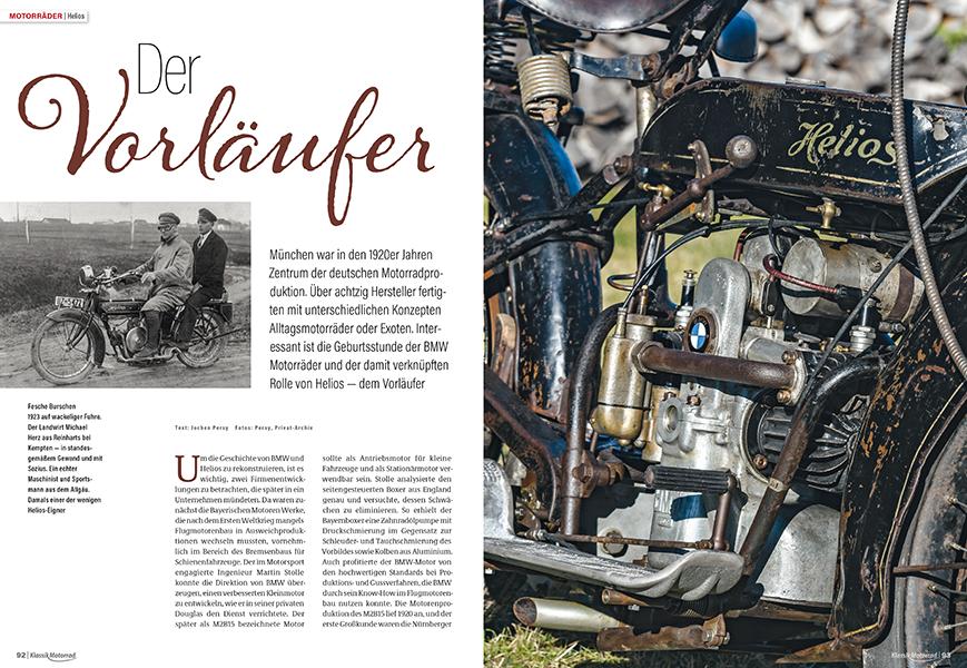 Helios war der Vorläufer der BMW-Motorräder mit dem legendären Boxermotor aus den 1920er Jahren