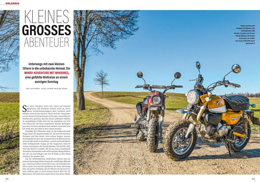 """Erlebnis: Auf Abwegen mit Honda Monkey 125 und Brixton Crossfire 125 XS unter """"gefährlichen"""" Bedingungen auf der rauen Alb"""