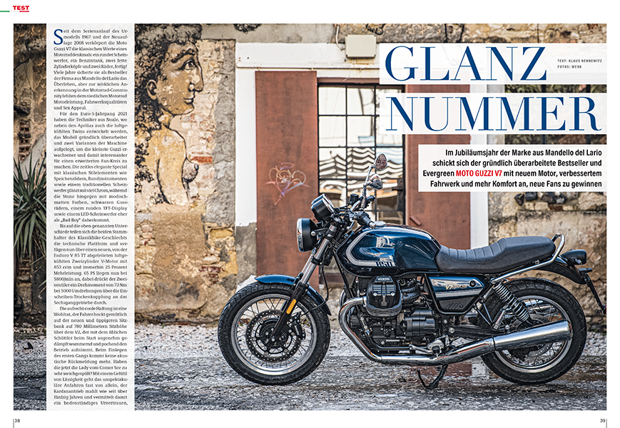 Test Moto Guzzi V7: Mit jetzt 850 ccm stößt Moto Guzzis beliebteste Maschine in neue Bereiche