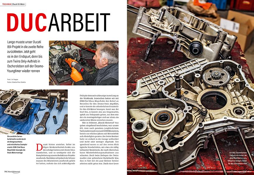Wiederaufbau Ducati 851: Tiefgreifende Maßnahmen an der Motorentechnik des italienischen Superbikes vor dem Wiederzusammenbau