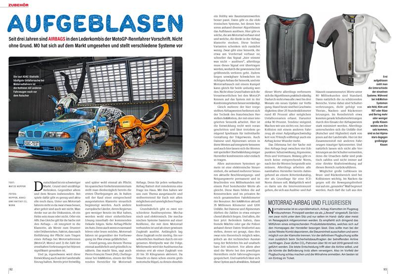 Airbags: Es gibt zahlreiche Modelle der sich aufblasenden Sicherheitsbekleidung. Martktübersicht