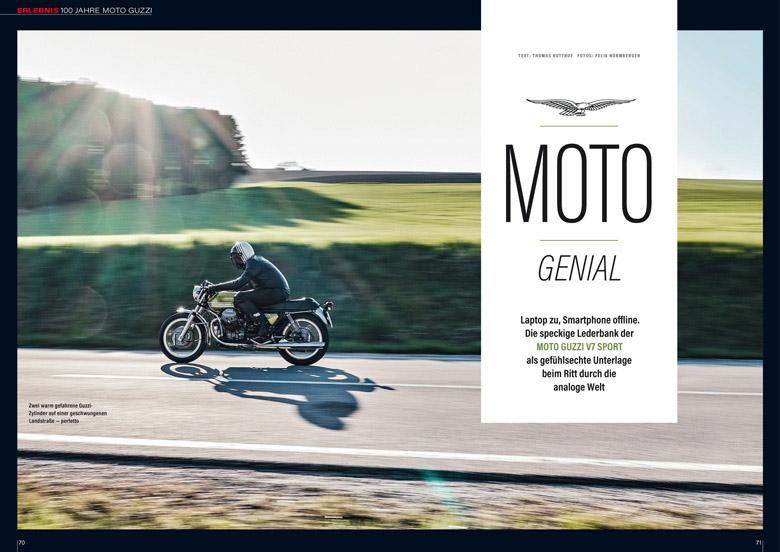 Das 100-jährige Jubiläum von Moto Guzzi wird mit einem Adlerflug der legendären V7 Sport gefeiert