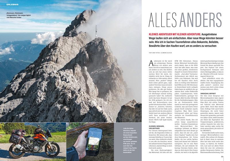 Ist es besser, alles anders zu machen? Ausprobiert bei einer alpinen Watzmann-Überquerung, verbunden mit An- und Abfahrt auf der kleinen KTM 390 Adventure