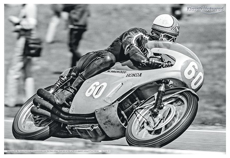 Poster: Mike Hailwood auf Honda-Sechszylinder für die 350er-Klasse