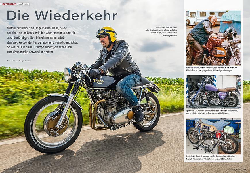 Klassik Motorrad-Autor kaufte die Triumph Trident T150 aus alten Zeiten zurück und schuf daraus einen Cafe Racer