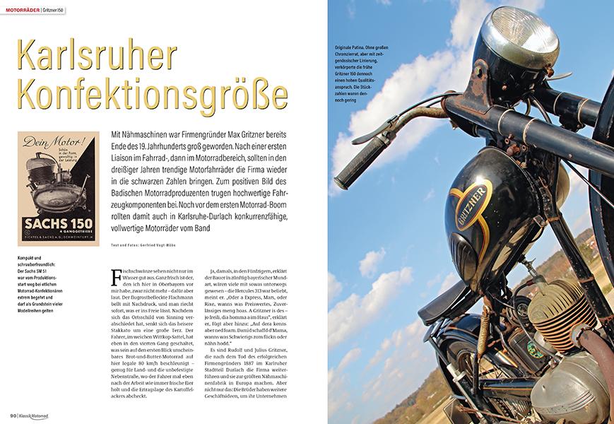Das Karlsruher Nähmaschinenwerk Gritzner baute auch Motorräder, wie die 150 mit Sachs-Zweitaktmotor