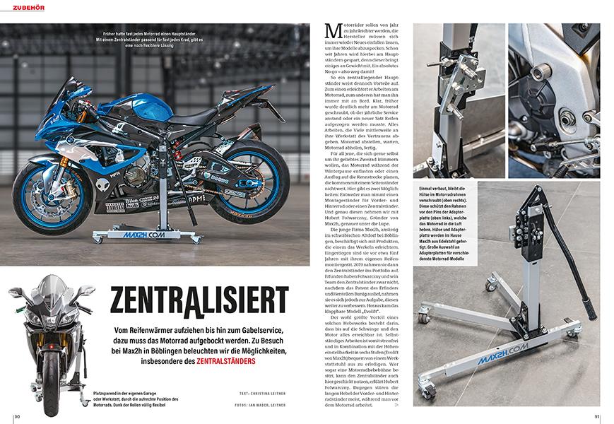 Motorrad aufbocken: beide Räder frei in der Luft